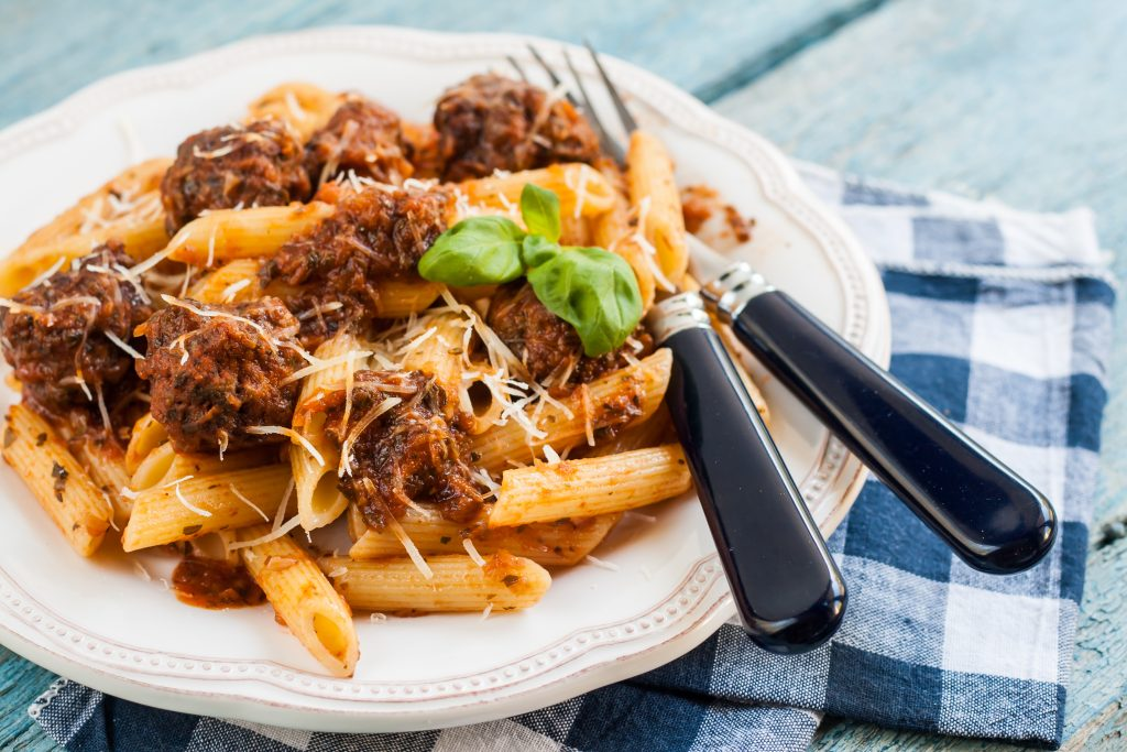 Penne Pasta and Meat Balls